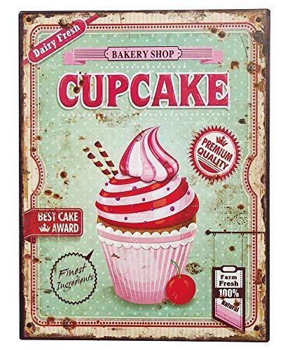 zeitzone Nostalgie Blechschild Cupcakes Bakery Shop Dekoschild 33x25cm -