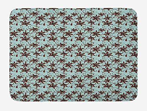 CHKWYN Paint Bath Mat, Floral Swirling Lily Branches Shabby Feminine Victorian Blooms Pattern, Plush Bathroom Decor Mat with Non Slip Backing, 23.6 W X 15.7 W Inches, Seafoam Chestnut Brown -