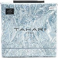 Tahari Home Juego de cama de 3 piezas, funda de edredón estilo bohemio marroquí con estampado de damasco y cachemira, satén de algodón