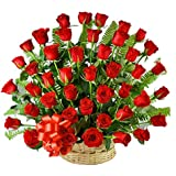FloraZone (Red Peacock) Fresh Basket Arrangement of 50 Red Roses