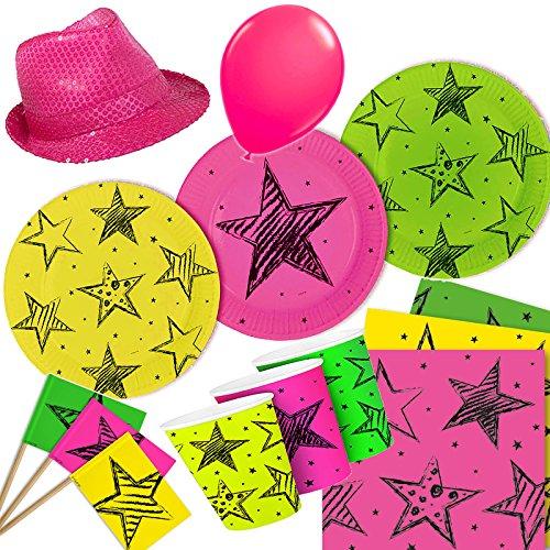 * NEON PINK * mit Teller + Becher + Servietten + Pickern + pinken Neon-Hut + Luftballons // Geburtstag Set Partygeschirr Deko Party Mottoparty Motto Luftballons leuchtend ()