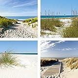 Artland Qualitätsbilder | Glasbilder Deko Glas Bilder 4 tgl. je 30 x 30 cm mehrteilig Landschaften Nordsee Strand Dünen Sand F2AY Meer