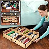 #7: Spandal 12-Pair Underbed Shoe Organizer Holder Intake Under Bed Closet Storage Fabric Bag Box