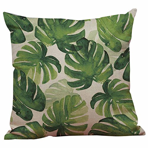 Symboat hojas verdes funda de cojín funda de cojín plantas tropicales Home Decor almohadas...