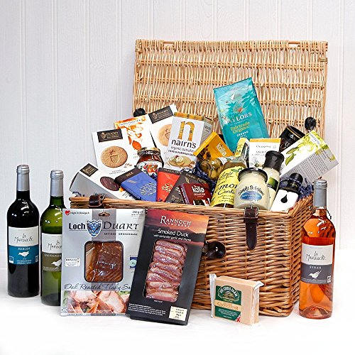 The Hampshire Organic Luxury Gift Food Hamper from (3x750ml Bottles Organic Wine & 23 Organic Food Items) Gift ideas for Birthday , Wedding gifts, Anniversary