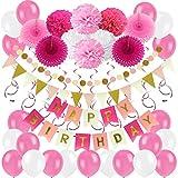Zerodeco Decorazione Festa di Compleanno, Bandiere Happy Birthday e Pompon Fiori, Ghirlande, Bandierine triangolare, Decorazioni pendenti, Palloncini in lattice -