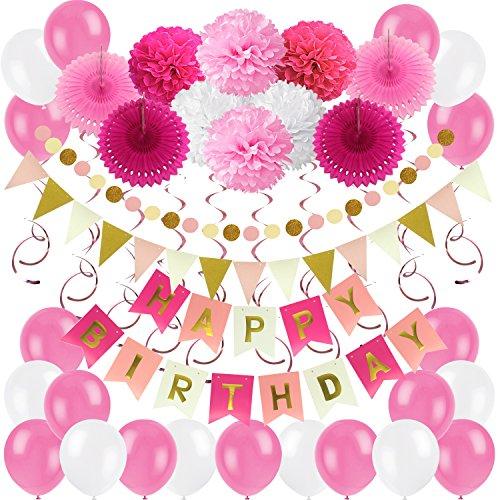 Zerodeco Geburtstagsdeko, Happy Birthday Wimpelkette Banner Girlande mit Pompoms Papier Girlande Fans Fächer Dreieckige Wimpel Spiral Girlanden und Luftballon - Rosa