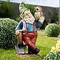 Royal Gardineer Gartenzwerg Emil mit Eule, handbemalt von Royal Gardineer bei Du und dein Garten