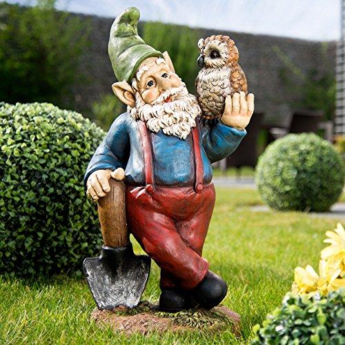 Royal Gardineer Gartenzwerg Emil mit Eule, handbemalt - 2
