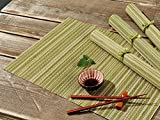 Bambus Tischläufer–aus Bambus Holz–Runner Größe (cm): 40x 150, 4Pack 35x 50cm, moderne Tischdekorationen mit gerippter Textur 4 x Green - 35x50cm