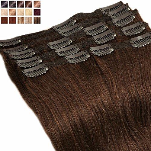 S-noilite® Extensions Cheveux Clips Naturels 8 Pièces - Double Weft - MAXI VOLUME - 100% Remy Hair (40cm-130g, #04 Marron chocolat)