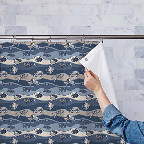 Tank Fish Water Cold (AZ Fish Aquarium Washable Waterproof Shower Curtain 54 x 72inch; SET OF 2 PCS)
