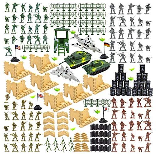 YIJIAOYUN 250 stück Armee männer Soldaten Figuren bürgerkrieg Soldaten mit Tank Flugzeug Flagge, groß wie Weihnachten Geburtstagsgeschenk Spielzeug für Kinder Kinder Jungen (Spielzeug Kunststoff Männer Armee)