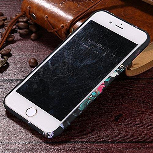 Sveglio Flexible Protettiva Custodia per Apple iPhone 7 4.7, CLTPY Vintage Stampa Fiore Pattern Resistente ai Graffi Anti Scivolo Posteriore Case con Disegni Belle Colorato Fiori Caso per iPhone 7 +  Peonia Rossa