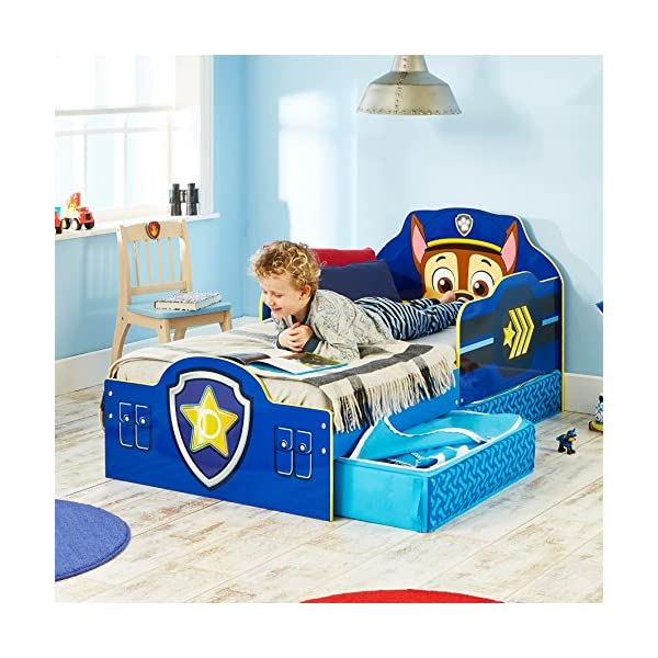 Paw Patrol Chase Kids Toddler Bed with Underbed Storage by HelloHome Paw Patrol Ideal transition from cot to bed - make the move to their first big bed magical with the Paw Patrol toddler bed with underbed storage from HelloHome, featuring Chase Takes cot bed size mattress - 140 (l) x 70 cm (w). Mattress not included. Assembled size (h) 68, (w) 77, (l) 145 cm Suitable for 18 months to 5 years, this blue kids bed is for your little Paw Patrol and Chase fan 8