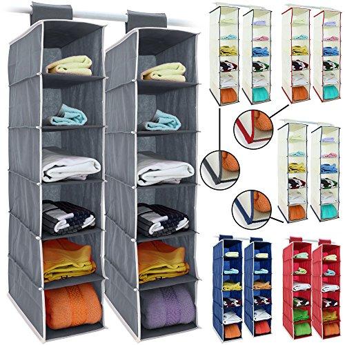 2x Hänge-Aufbewahrung 6 Fächer 72cm x 16cm x 28cm Kleiderschrank Aufbewahrung Hängeregal Organizer Aufbewahrungssystem Set – Farbauswahl
