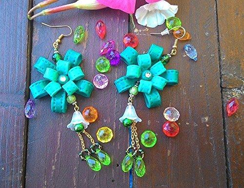 Ohrringe von Frau in Fimo: Flocken Kokarde Grün ~ AstraLuna Bijoux (Emerald Girl Kostüm)
