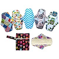 6pcs 10 pulgadas paño de bambú lavable almohadillas de Menstrual compresa + 1pc mini bolsa para