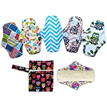 6pcs 10pulgadas paño de bambú lavable almohadillas de Menstrual compresa + 1pc mini bolsa para ropa húmeda