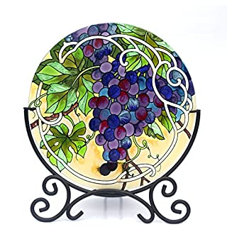 Acever Hand-painted Glass Candle Holder Hand Paint Art Glass Desktop Decor Table Topper Candleware Home Decor Office Decor Calendar Stand Purple Grape