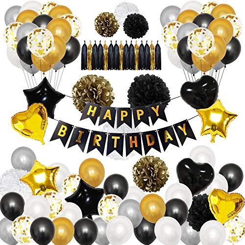 stag Mädchen Junge Luftballons Kindergeburtstag Dekoration Set Geburtstagsdeko Happy Birthday Girlande, Schwarz Gold Silber ()