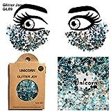 Glitter für Gesicht Körper Haare GL09 Glitzer Silber und Blau