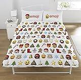 Emoji Weihnachten Bettbezug-Set, Polyester-, Multi, Doppel