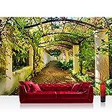 Vlies Fototapete 350x245 cm PREMIUM PLUS Wand Foto Tapete Wand Bild Vliestapete - WAY IN MY GARDEN - Garten Terrasse Blumenranken Blume 3D Perspektive - no. 047