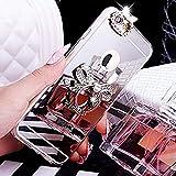 Ysimee Coque iPhone 6 Plus/6S Plus, Miroir Silicone Étui avec Anneau Support Strass...