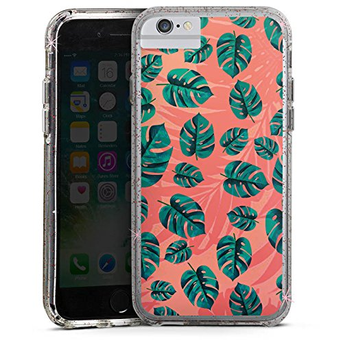 Apple iPhone 6s Bumper Hülle Bumper Case Glitzer Hülle Leaves Blaetter Dschungel Bumper Case Glitzer rose gold