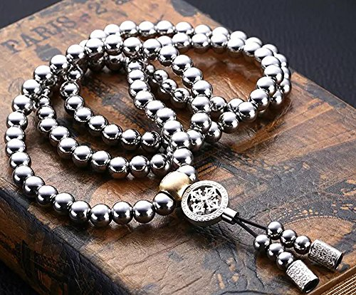WEREWOLVES Autodefensa collar de acero inoxidable/collar de latón chain108 perlas de Buda decoración del coche colgante autodefensa pulsera azote (Estilo de acero inoxidable-C)