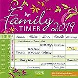 Family Timer - Floral 2019: Broschürenkalender mit Ferienterminen