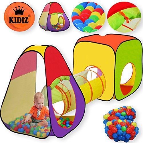 KIDIZ® Spielzelt Spielhaus Babyzelt 200 Bälle Bällebad Kinderzelt | Ideal für Zuhause & im Garten | Tasche | Tunnel, Größe: XL