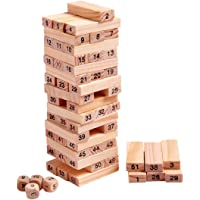 Prime Deals Tumbling Tower 51 Pieces Numbered Wooden Block Stacking Game with 4 Dices, Challenging Maths Game for Adults…