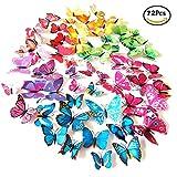 Foonii 3D Papillons Papiers Décoration pour décoration de Maison et de Pièce, Stickers Muraux, 6 Couleurs, 72 Pièces (Rouge/Bleu/Jaune/Vert/Rose/Couleur)