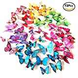 Foonii 72 PCS 3D Schmetterlinge Wanddeko Aufkleber...
