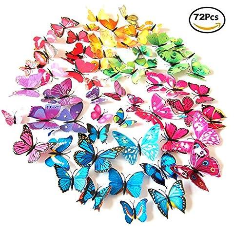 Foonii® 72 PCS 3D Schmetterlinge Wanddeko Aufkleber Abziehbilder,schlagfestem Kunststoff Schmetterling Dekorationen, Wand-Dekor (12 Blau, 12 Farbe, 12 Grün, 12 Gelb, 12 Rosa, 12 Rot