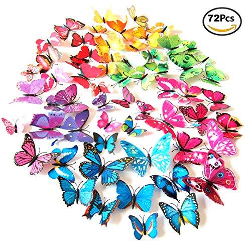 Foonii® 72 PCS 3D Schmetterlinge Wanddeko Aufkleber Abziehbilder,schlagfestem Kunststoff Schmetterling Dekorationen, Wand-Dekor (12 Blau, 12 Farbe, 12 Grün, 12 Gelb, 12 Rosa, 12 Rot )