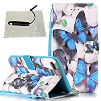 iPhone 7 Plus 5.5 Case White,iPhone 7 Plus 5.5 Wallet Case,iPhone 7 Plus 5.5 Flip Cover,TOCASO Book Style Slim 3D Pattern PU Leather Soft Silicone Inner Back Cover With Hand Strap Blue Butterfly Pattern Design Holster with Build-in Stand Up View Function