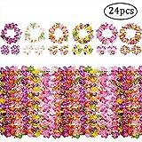 Yojoloin 24 Pièces Hawaiian Leis Luau Fleurs avec 12 Bracelets 6 Bandeaux Et 6 Colliers pour Luau Hawaiian Party Décorations Fournitures Photo Booth Props.
