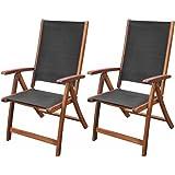 Festnight 2 STK. Klappstühle Gartenstühle aus Akazienholz und Textilene Klappbar Stuhl-Set Stühle Schwarz