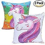 2PCS Unicorn Pillow case, 40*40cm design unicorno cuscino casi Sequin unicorn-two cambiamento di colore DIY paillettes cuscino invertito in paillettes cuscino stampato federa casa divano decorativo Cuscino cove