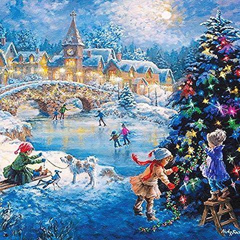 KAYI 5D Diamond Painting Eve de Noël Percussion partielle Artisanat à la main Peinture Décoration intérieure