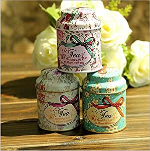 Generic 24pcs/lot Vintage style print flower series metal tea box Cute tin box Round home storage case Iron candy container Gift SN001