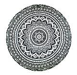 Smile YKK Indischen-Mandala-Tischdecke-Wandteppich-Strandtücher-Picknickdecke-Runde Mandala Schwarzweiß