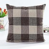 Kissenbezug Zierkissenbezüge Leinen 45 x 45 cm Hevoiok Sofa Auto Bett Dekoratives Kissenhülle Gitter Design Taille Kissen Abdeckung (Kaffee) -