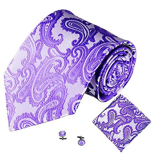 Xmiral Klassische Jacquard Krawatte Herren Einstecktuch Einstecktuch Manschettenknopf(K)