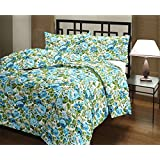 Cloud Mart Attractive Blue Floral Design Print Reversible Double Bed AC Blanket/Dohar/Quilt