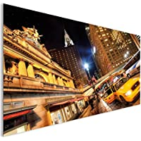 New York Taxi Night City in stile moderno, in vetro acrilico Wall Art XL
