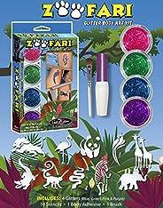 GlitZGlam Safari'O Glitter Tattoo Kit - Safari, Zoo & Jungle Animals Body Art - Hypoallergenic And Der